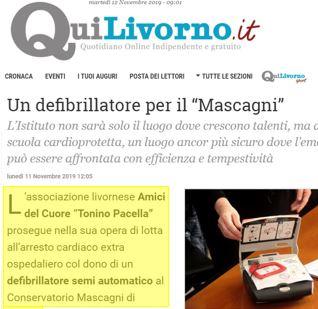 """Donato un Defibrillatore semi automatico al Conservatorio """"Mascagni"""""""